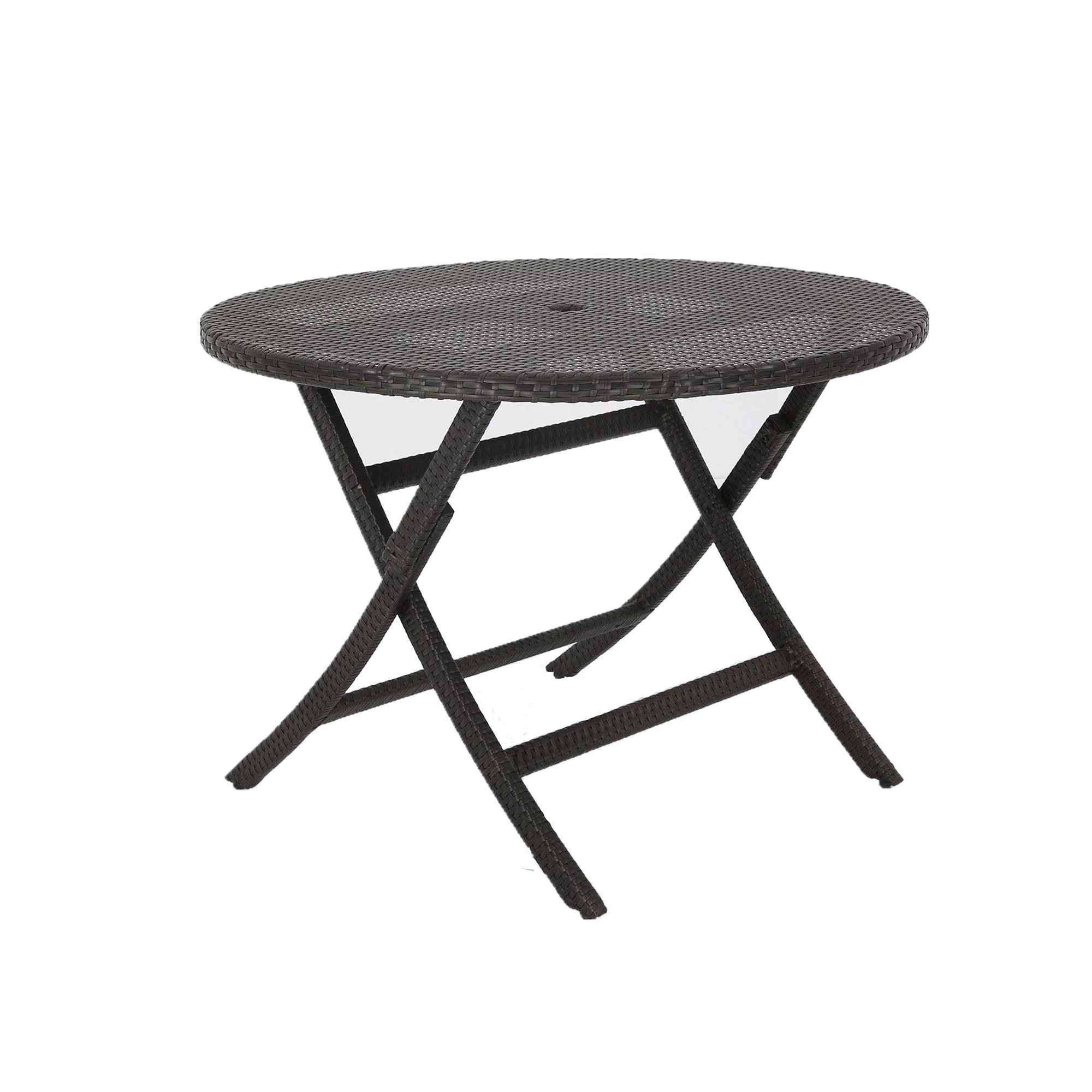 baner garden e07 outdoor furniture resin wicker rattan folding aluminum round table with umbrella hole black