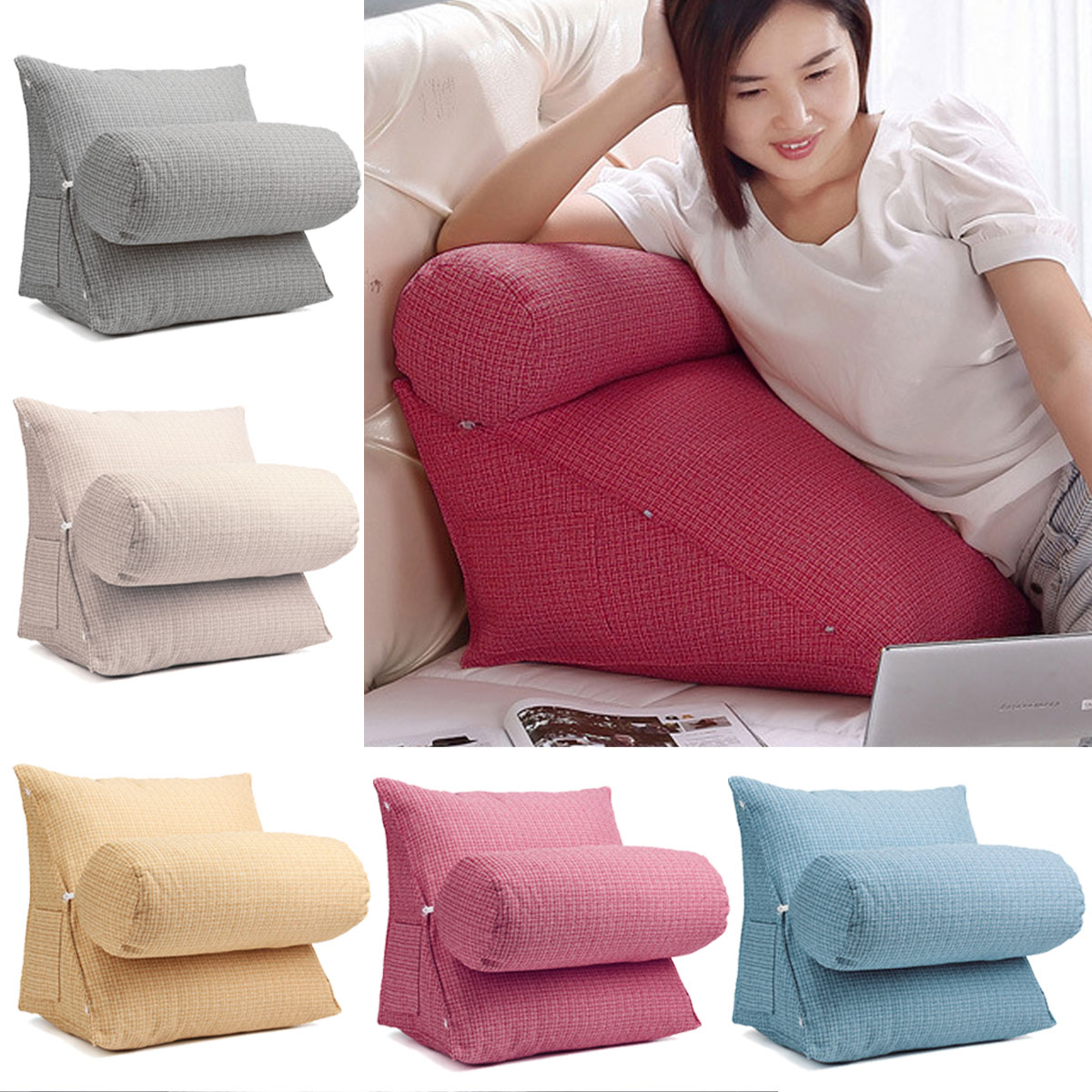 adjustable back wedge zipper cushion pillow sofa bed office chair rest waist neck support with phone pocket