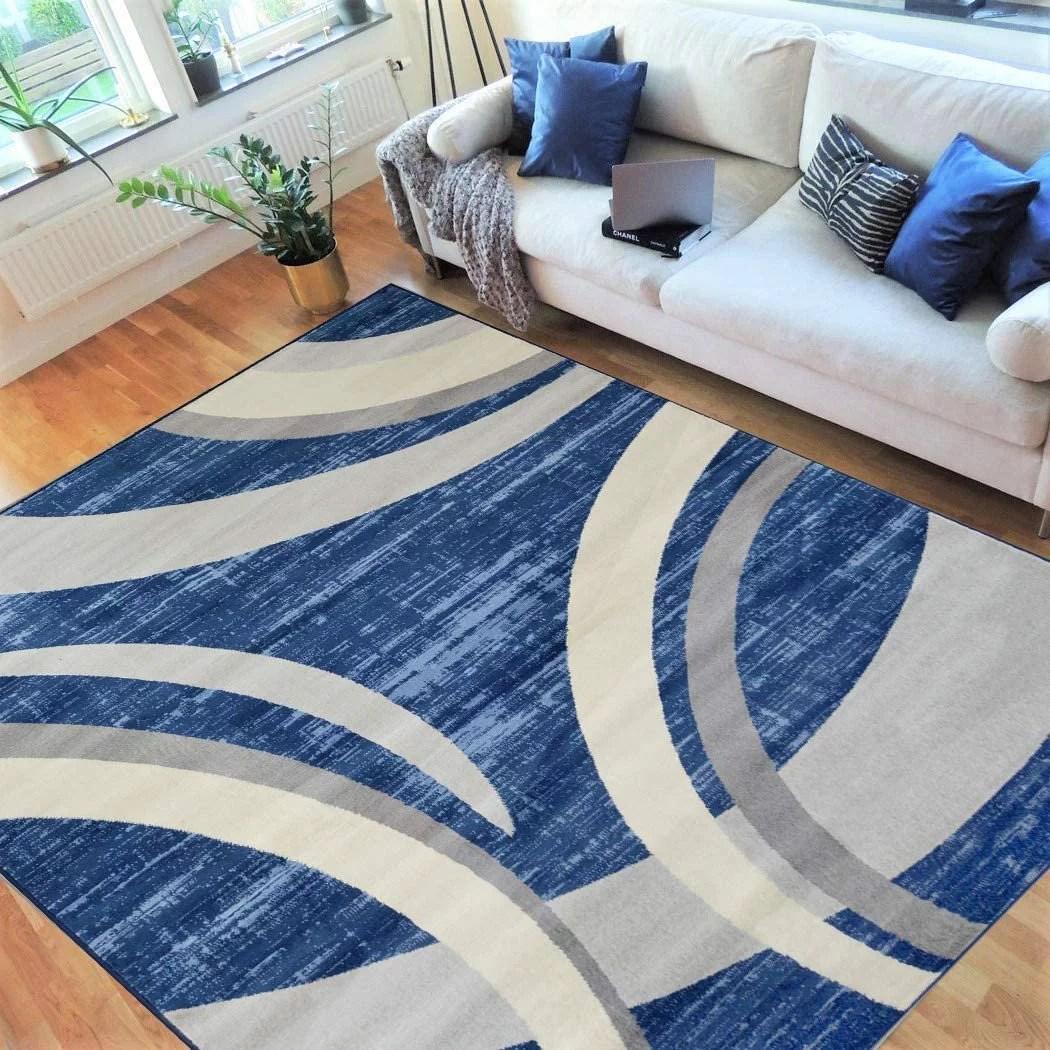 Hr Abstract Rugs Luxury Livingroom Carpet Modern Contemporary 5x7 Blue Rug Ultra Sof Blue Silver Gray White 5 X 7 Walmart Com Walmart Com