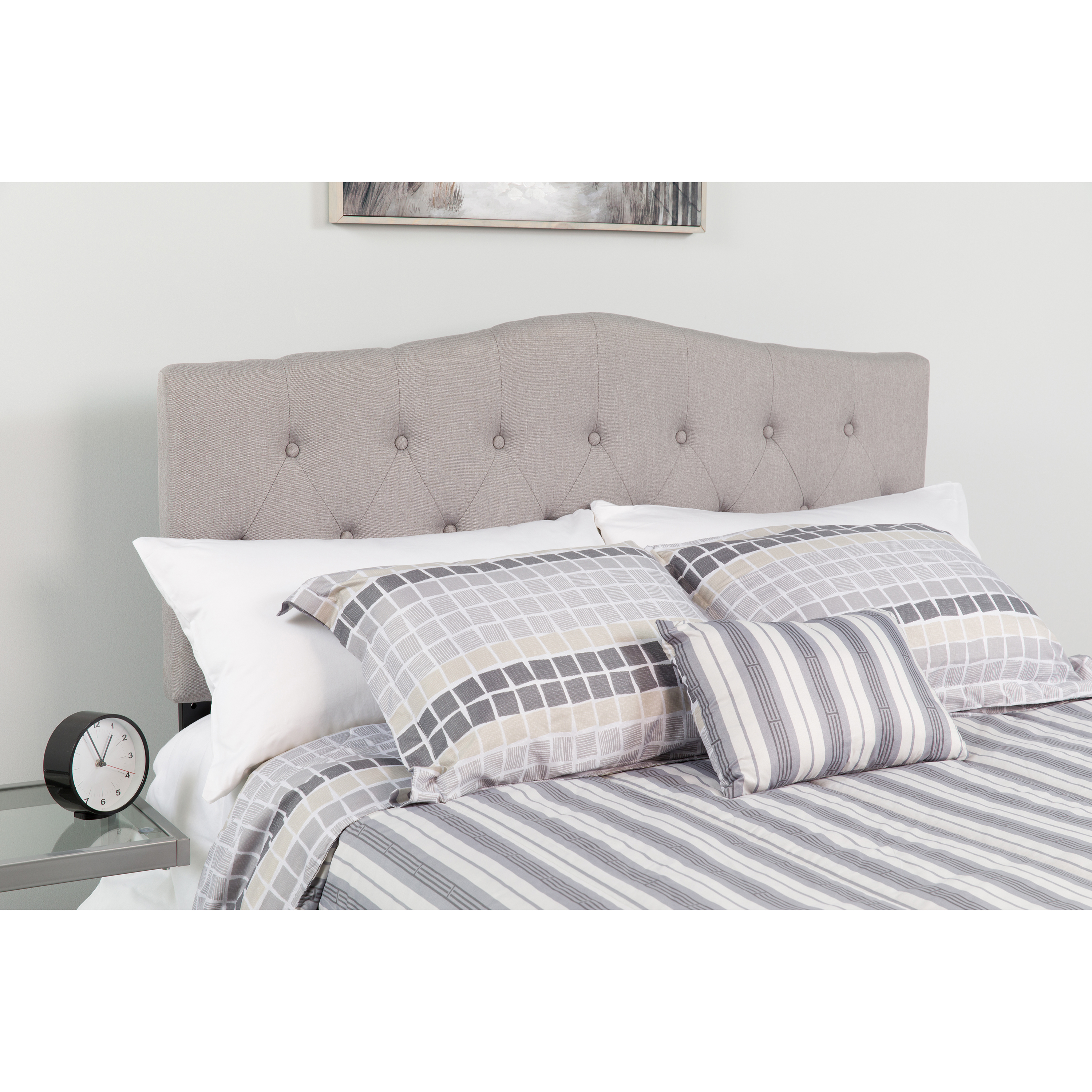 flash furniture cambridge tufted upholstered headboard queen gray