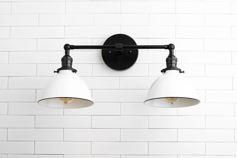 adjustable two bulb white shade farmhouse bathroom vanity lighting