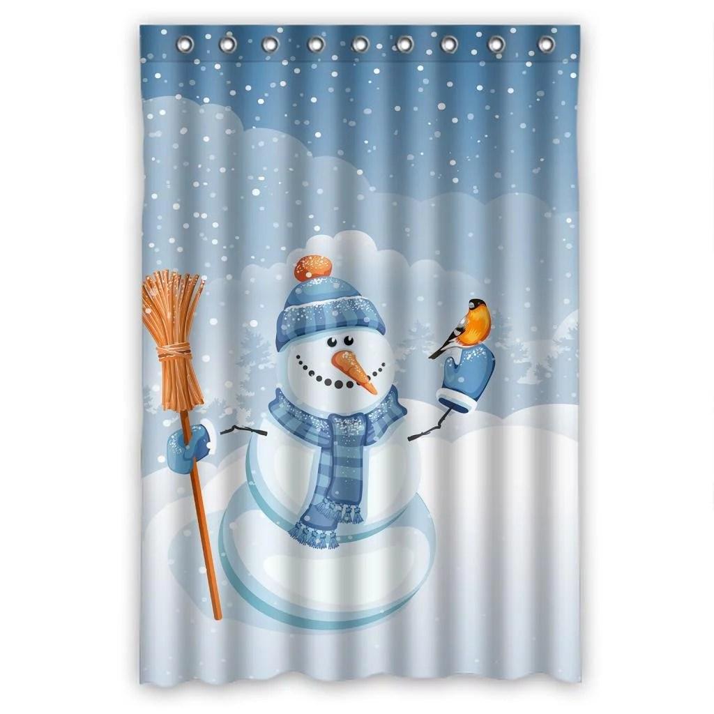 Greendecor Cute Snowman Falling Snow Waterproof Shower