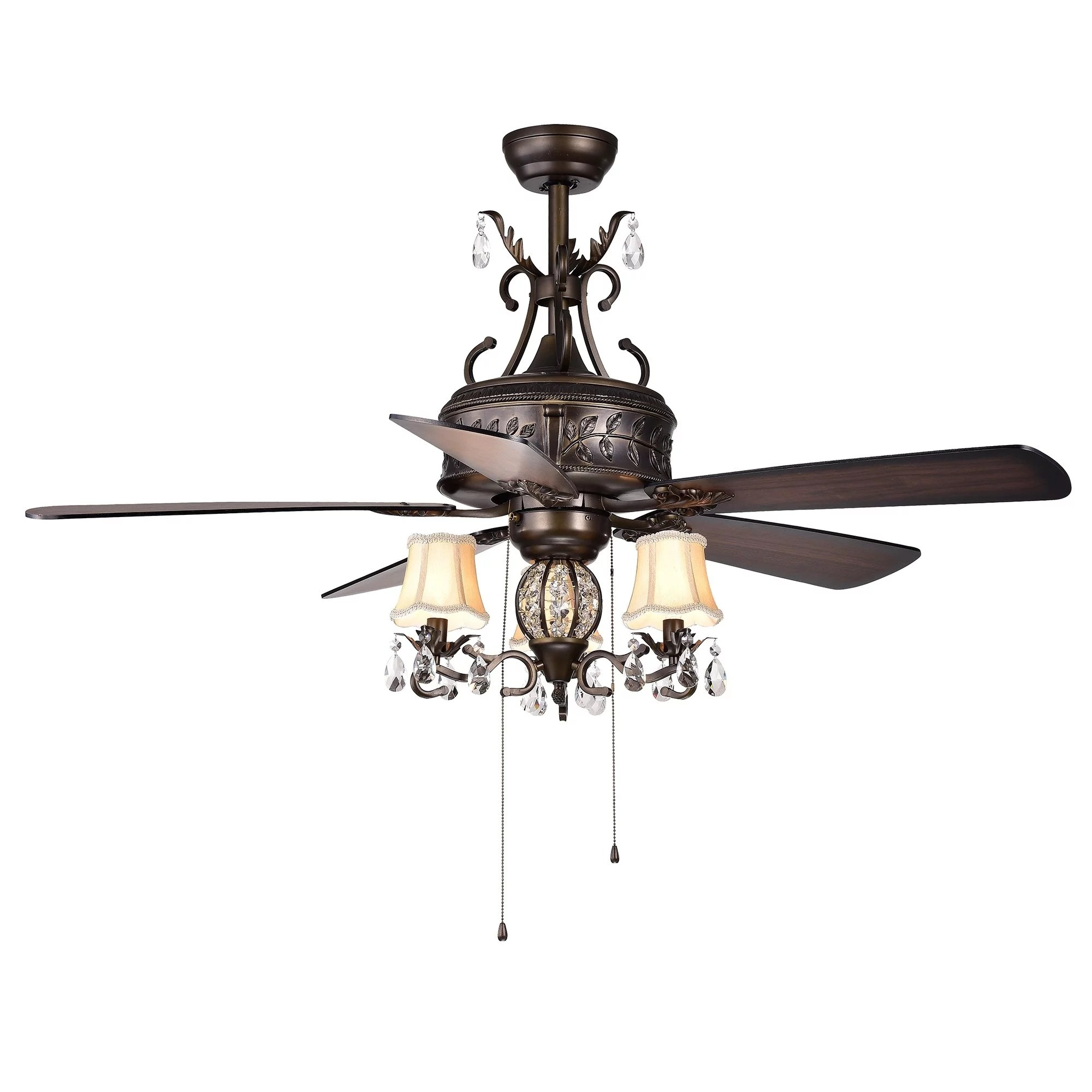 Firtha 5 Blade Antique Style 3 Light 52 Inch Ceiling Fan Walmart Com Walmart Com