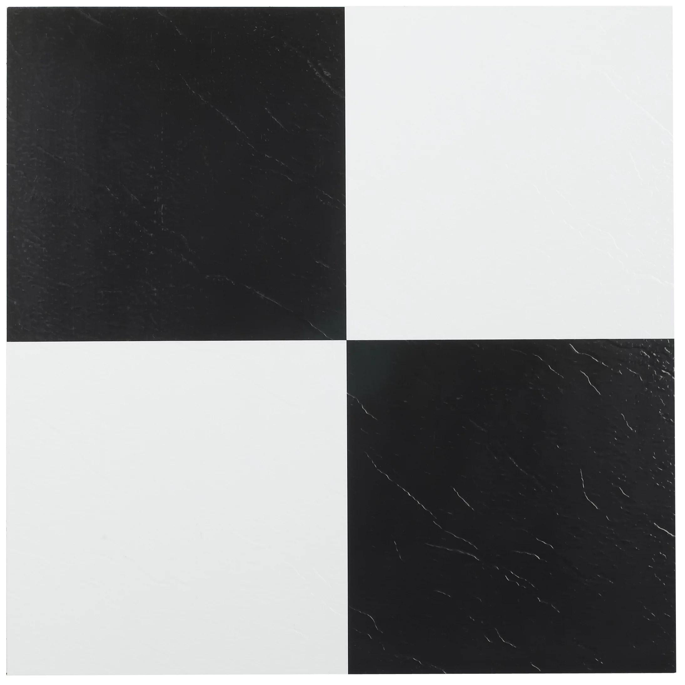 achim sterling 12 x12 1 2mm peel stick vinyl floor tiles 20 tiles 20 sq ft black white walmart com