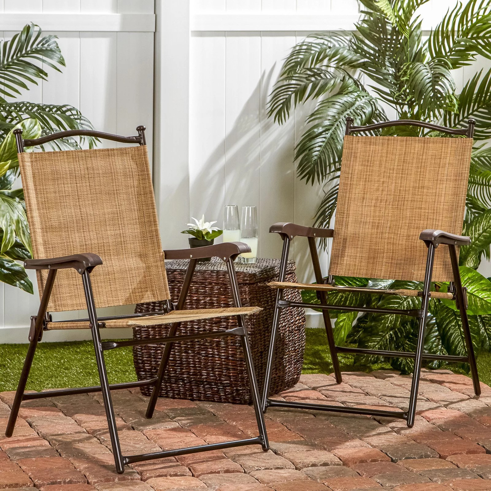 sling black outdoor chairs bamboo set of 2 walmart com
