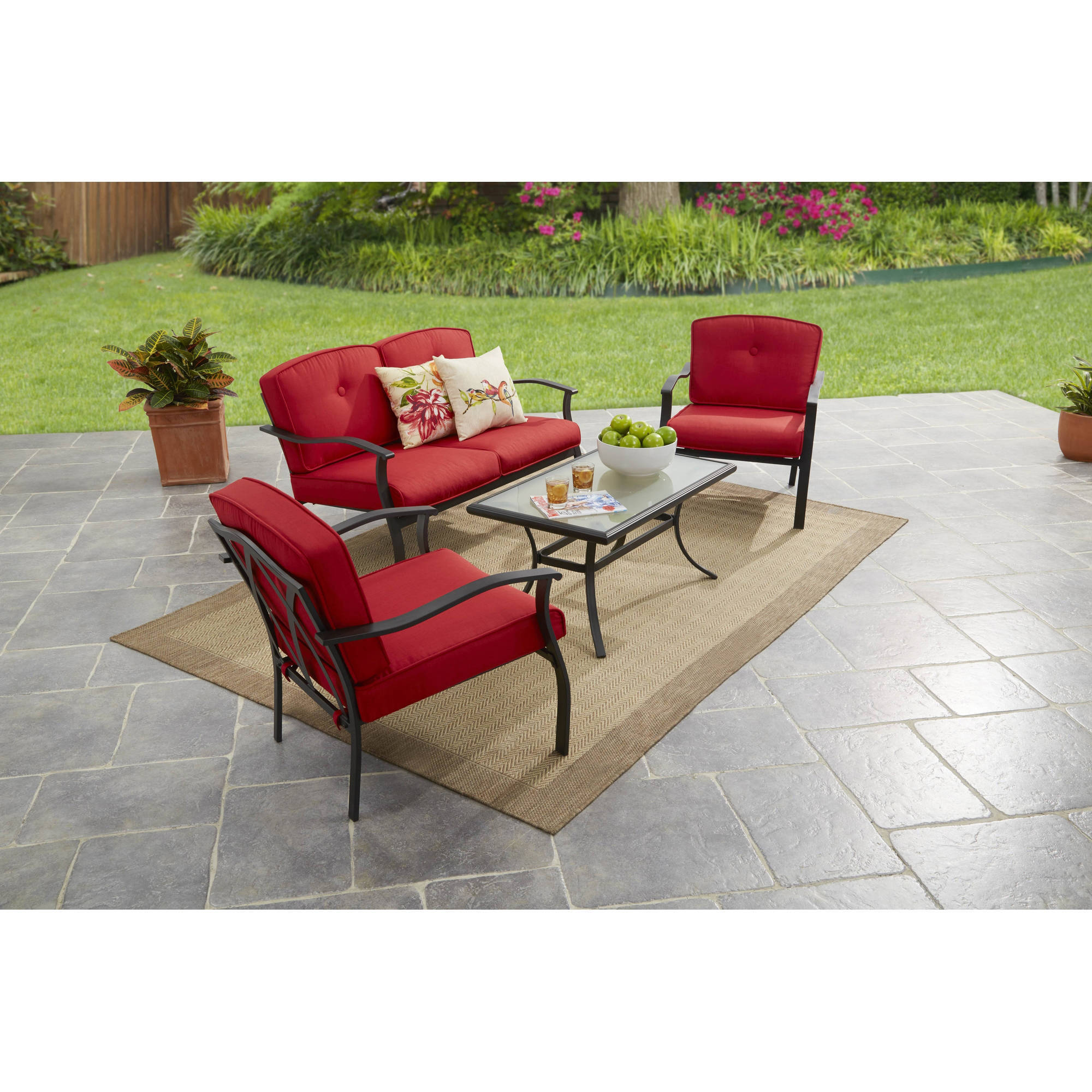 mainstays belden park 4 piece outdoor sofa set for patio red seats 4