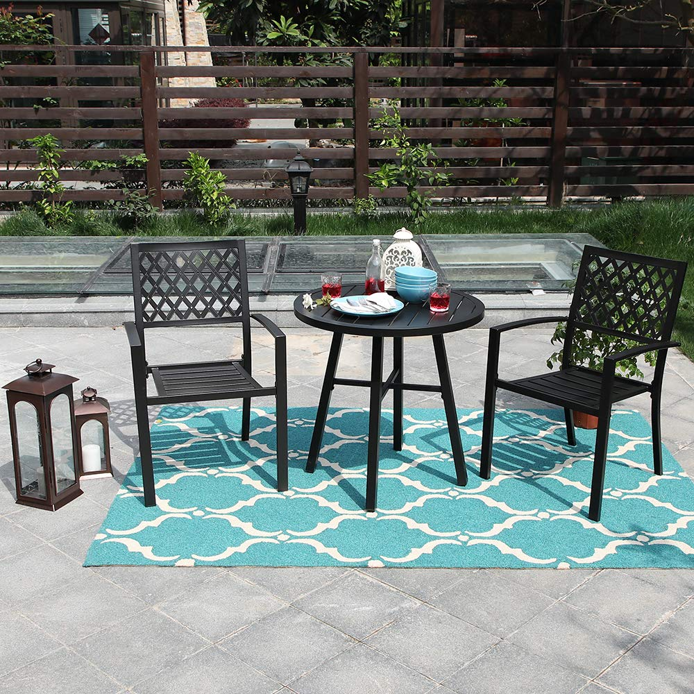 mf studio metal 3 piece patio outdoor dining furniture set with 2 chairs 1 round table for garden backyard patio