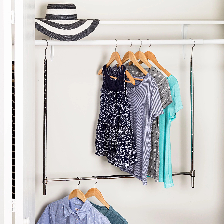 Honey Can Do Adjustable Hanging Closet Rod Chrome Walmart Com