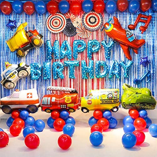 Transportation Party Supplies Vehicle Balloons Set Truck Ambulance Police Car School Bus Fire Truck Tank Jet Balloons Birthday Party Decorations For Boys Free Air Pump And Tape Included Walmart Com Walmart Com