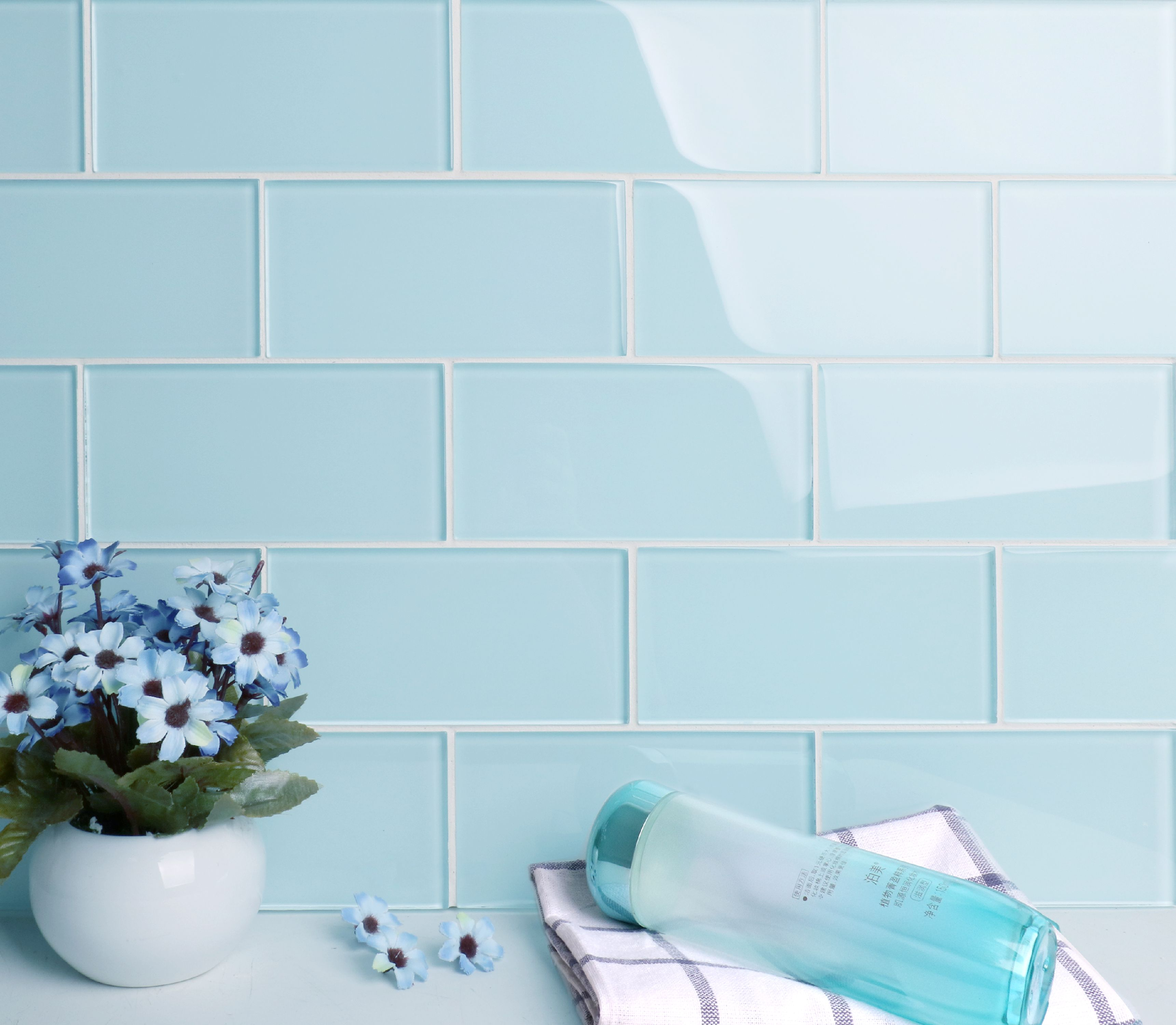 ws tiles premium baby blue 3 in x 6 in glass subway 12 in x 12 in mesh backed wall tile 5 sq ft case