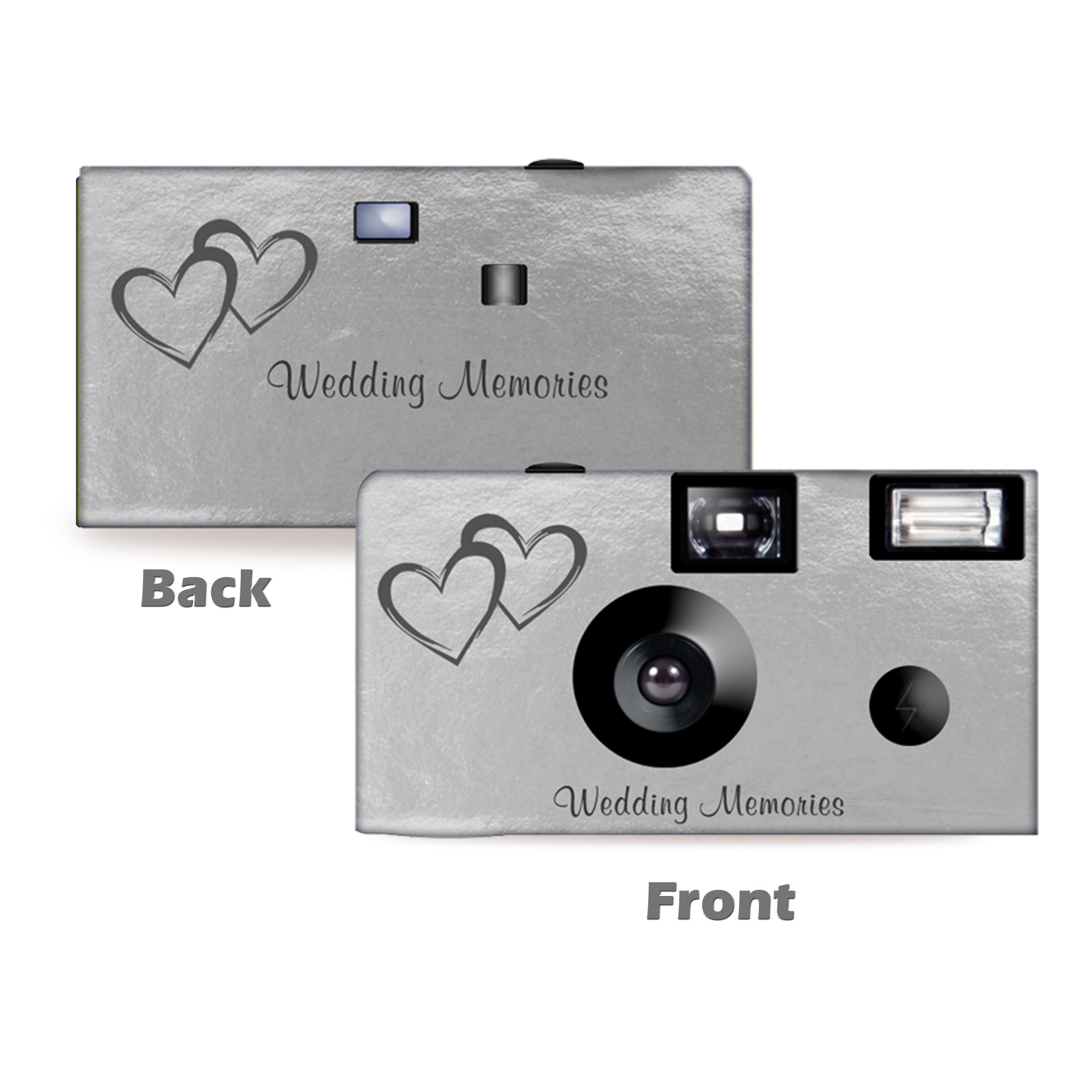 5pack-Silver Foil Coupled Hearts Wedding Disposable Camera, Free Shipping, Wedding Camera, Anniversary Camera, from CustomCameraCollection WM-50146-C