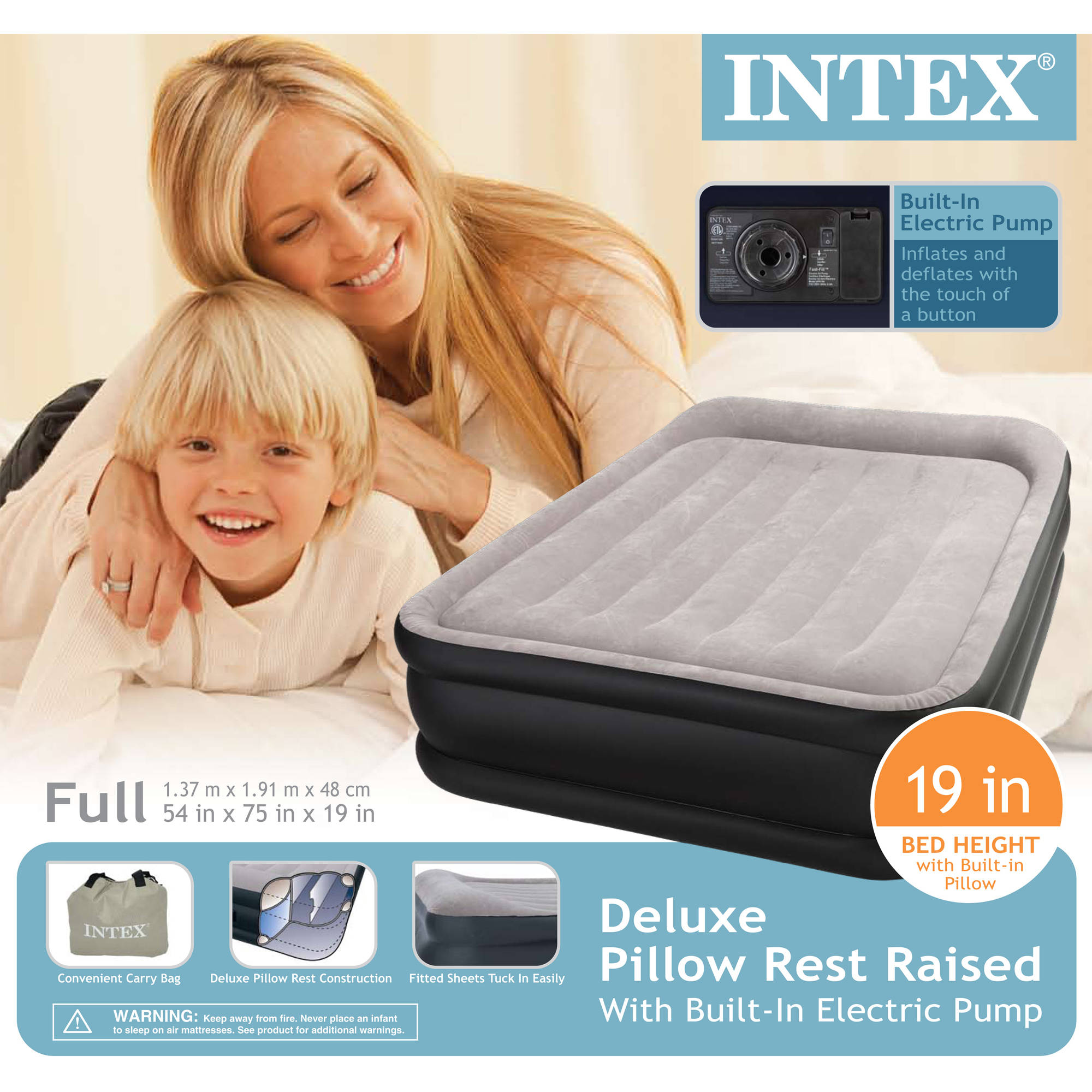 intex deluxe raised pillow rest airbed mattress with built in pump 1 each