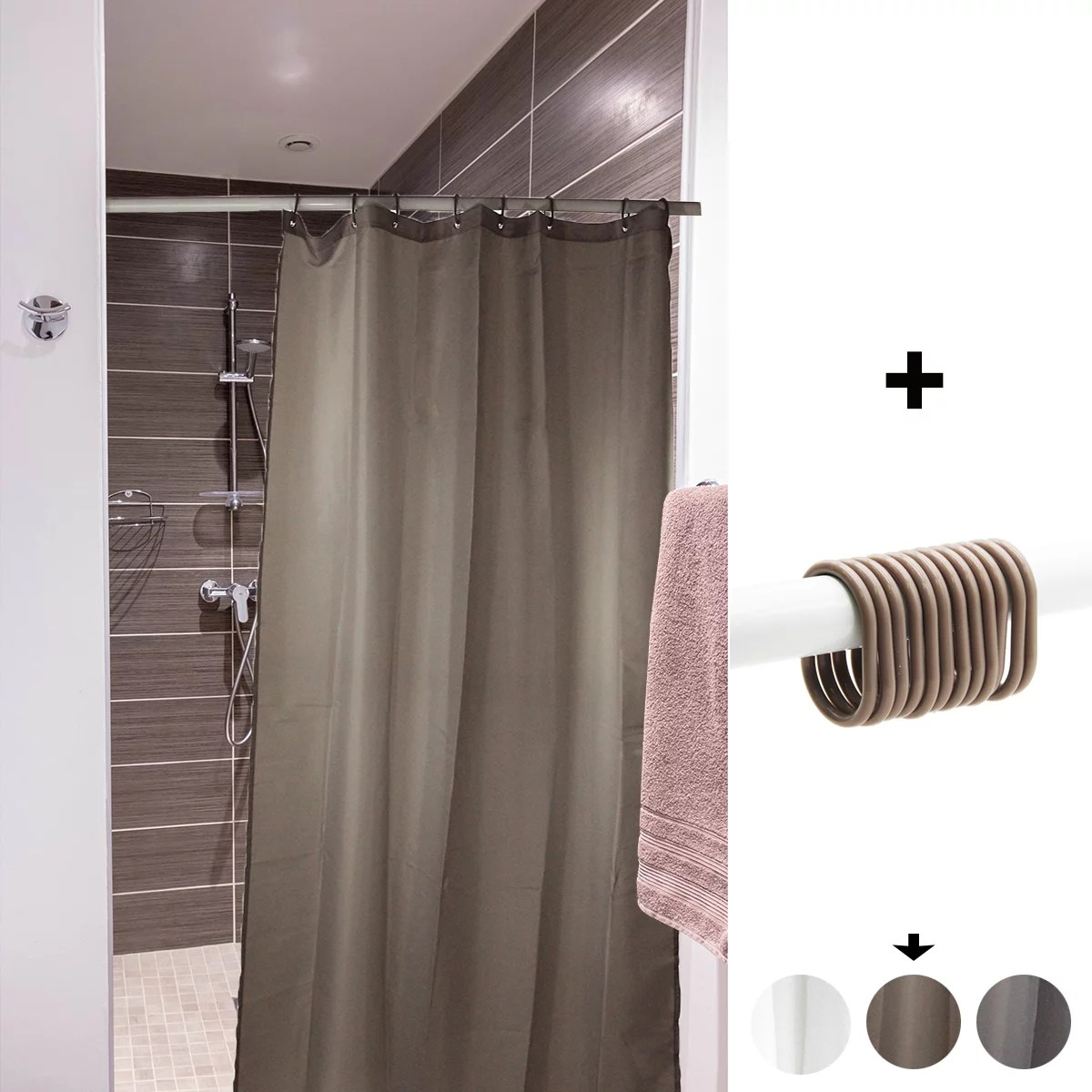 mildew resistant small stall shower curtain liner narrow size 48 w x 72 h inch 8 matching rings tan