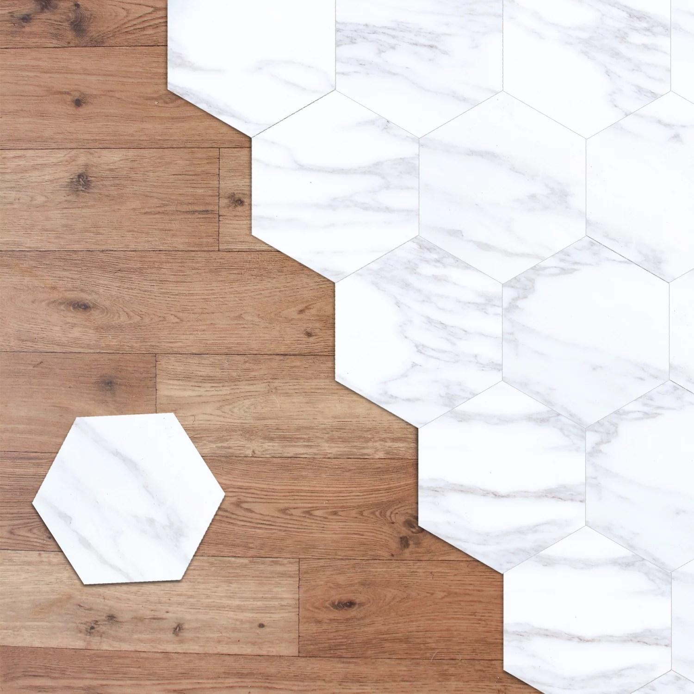 walplus peel and stick white marble hexagon floor tiles