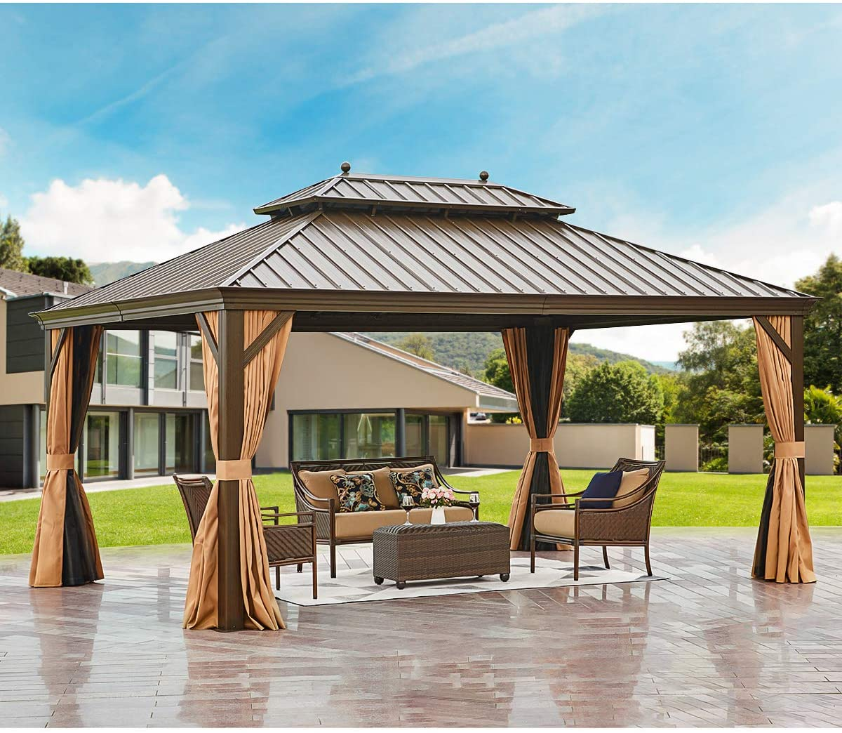 erommy 12 x 16 hardtop gazebo galvanized steel outdoor gazebo canopy double vented roof pergolas aluminum frame with netting and curtains for