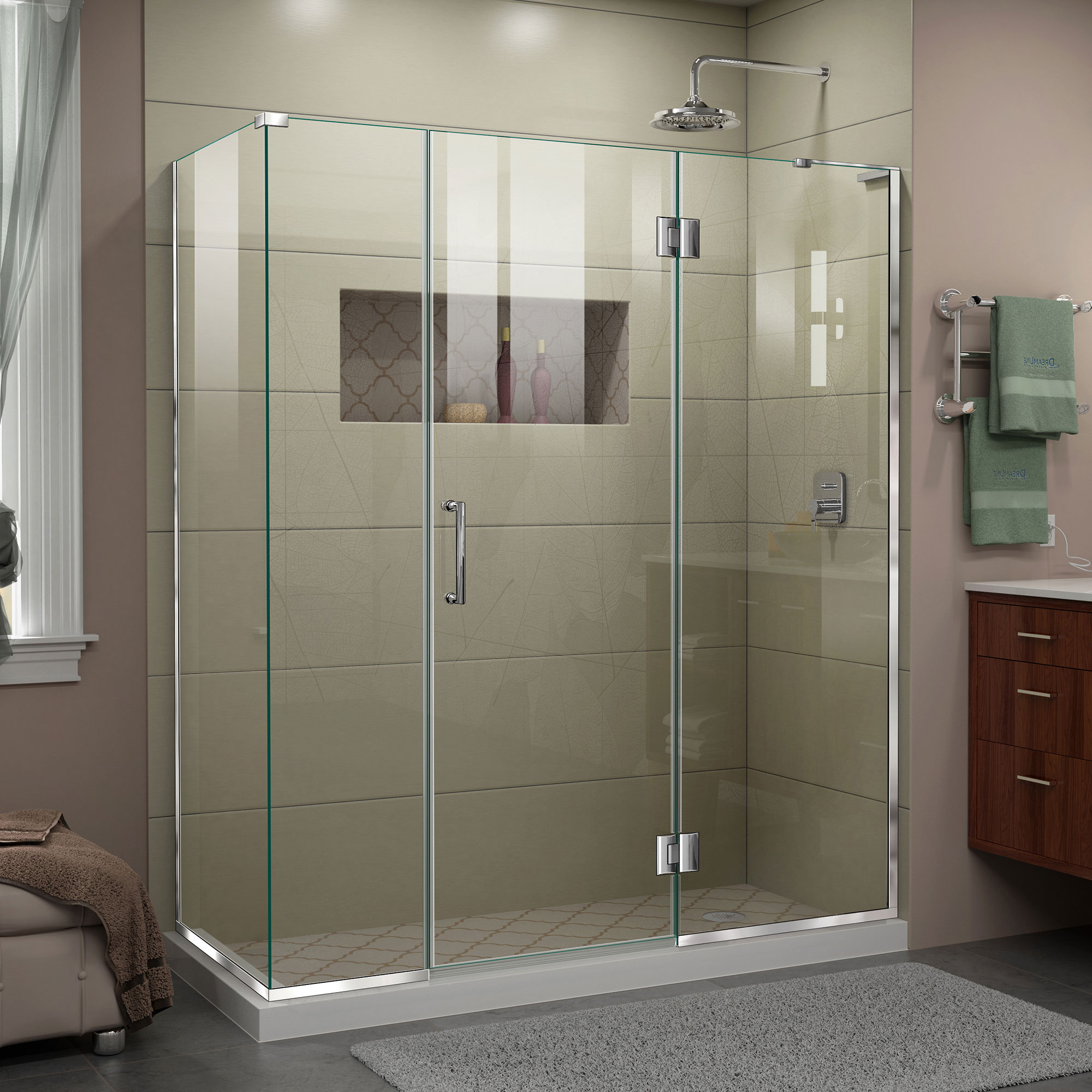 Dreamline Unidoor X 64 1 2 In W X 34 3 8 In D X 72 In H Frameless Hinged Shower Enclosure In Chrome