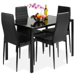 Best Choice Products 5 Piece Kitchen Dining Table Set W Glass Tabletop 4 Faux Leather Chairs Black Walmart Com Walmart Com