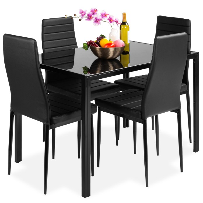 Best Choice Products 5 Piece Kitchen Dining Table Set W Glass Table Top 4 Faux Leather Chairs Black Walmart Com Walmart Com