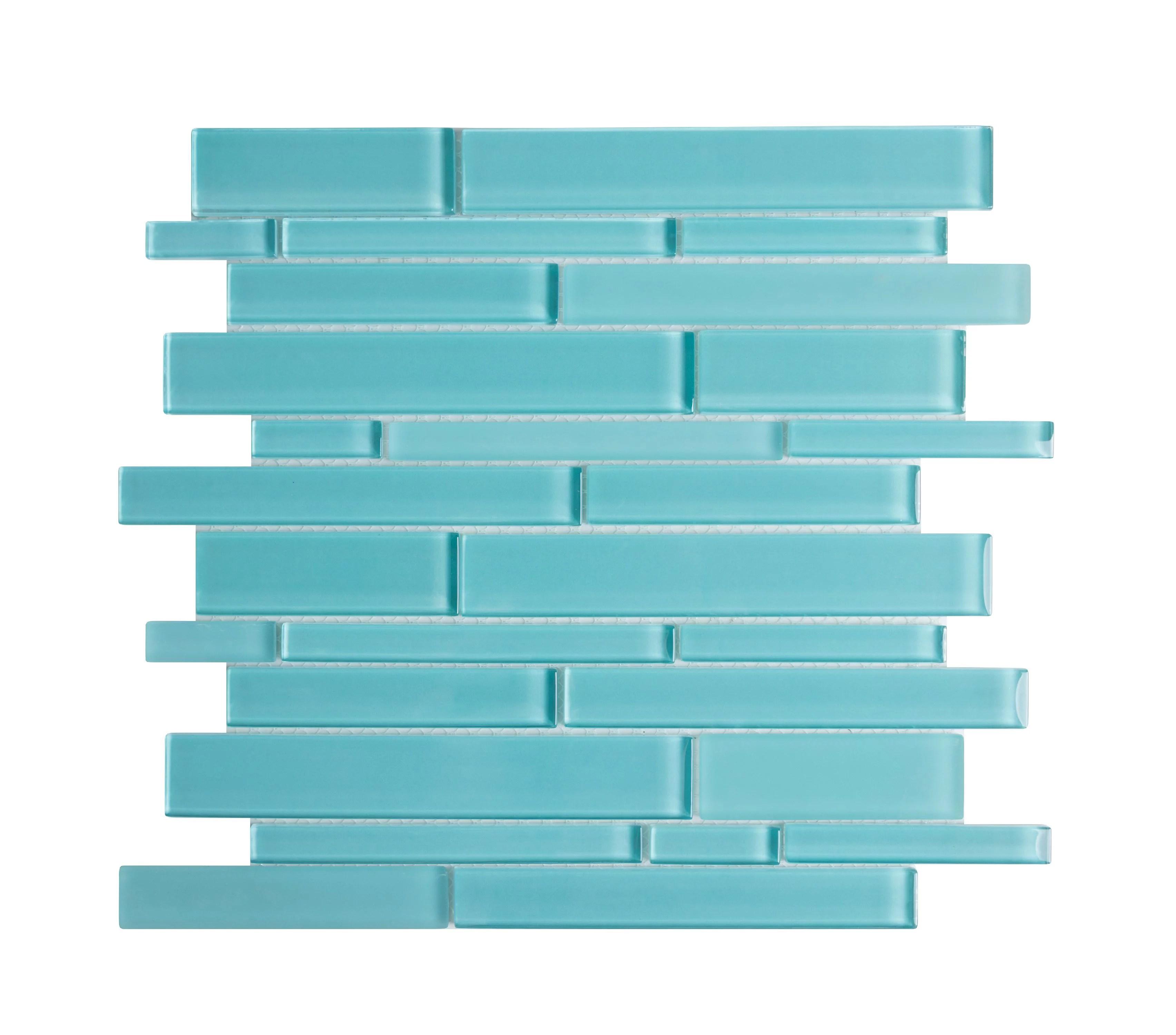 ws tiles premium series random sized glass mosaic tile in aqua blue 5 square feet carton
