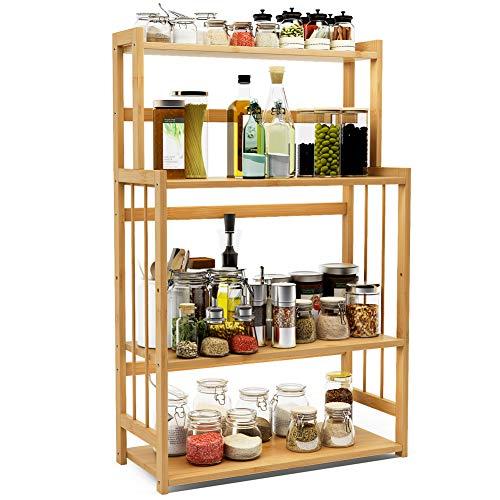 4 tier standing spice rack little tree kitchen bathroom countertop storage organizer bamboo spice bottle jars rack holder with adjustable shelf