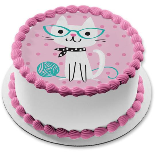 Cute Purrfect Cat Pink And Teal Polka Dots Kitty Happy Birthday Edible Cake Topper Image 8in Round Abpid50264 Walmart Com Walmart Com