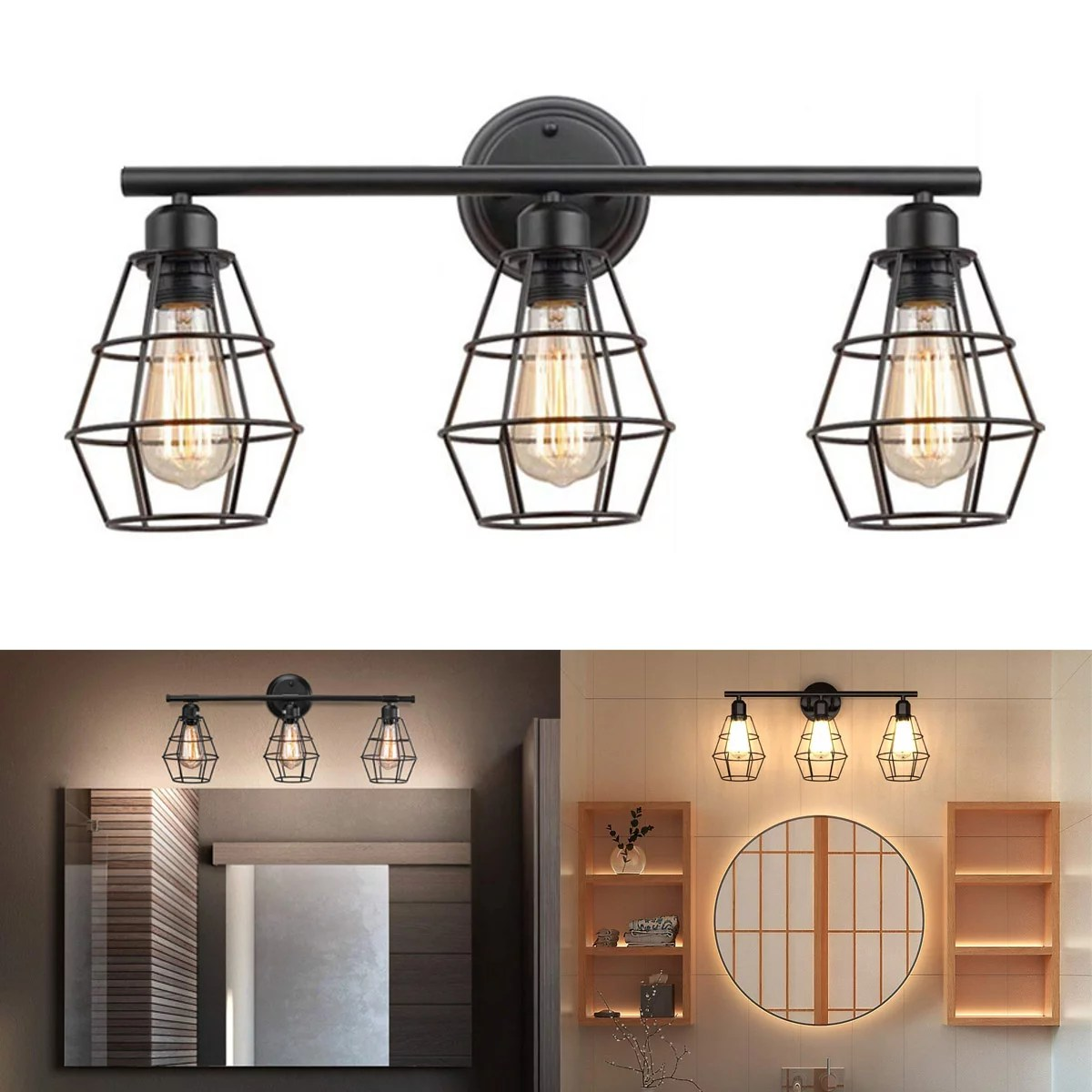 industrial bathroom vanity light 3 lights vintage metal cage wall sconce rustic farmhouse wall light fixture for mirror cabinets bar cafe