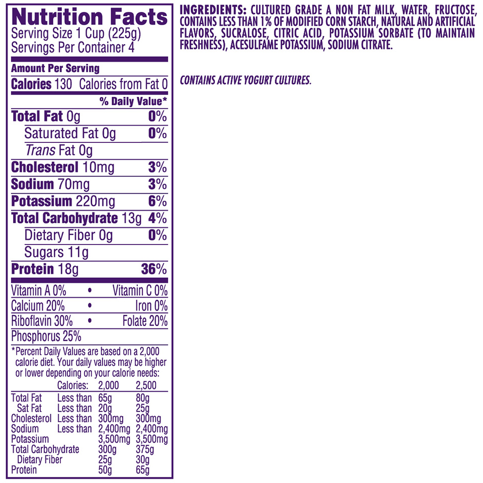 It is an image of Dramatic Dannon Light and Fit Blueberry Greek Yogurt Nutrition Label