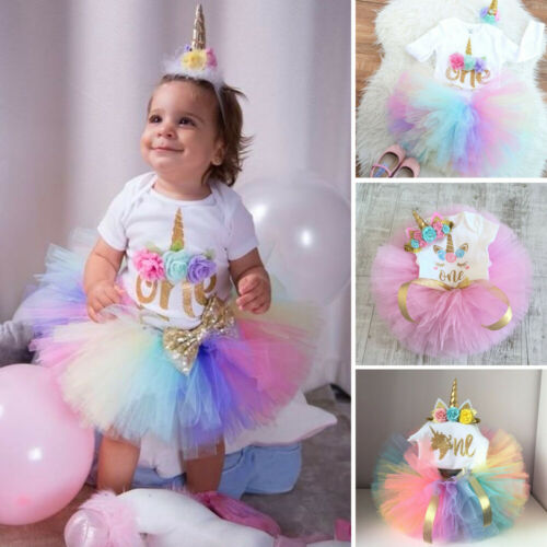 Calsunbaby 3pcs Baby Girls 1st Birthday Outfit Party Romper Skirt Cake Smash Tutu Dress Walmart Com Walmart Com