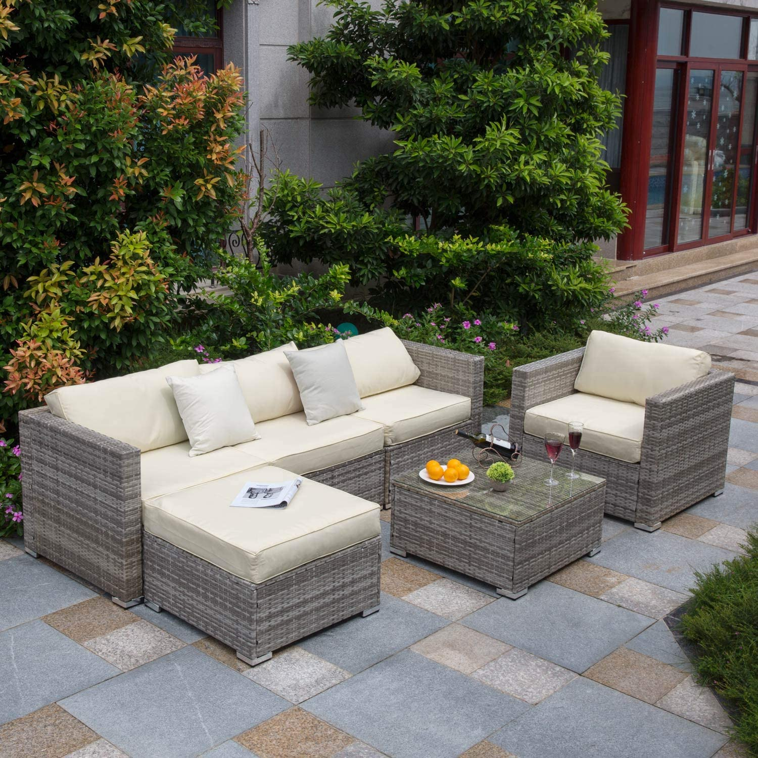 tribesigns 6 pcs outdoor furniture sectional sofa set large wicker patio furniture conversation set rattan couch with waterproof cushions backyard