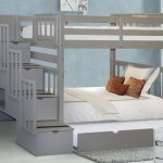 Bedz King Tall Stairway Bunk Beds Twin Over Twin With 4 Drawers In The Steps And A Twin Trundle Gray Walmart Com Walmart Com