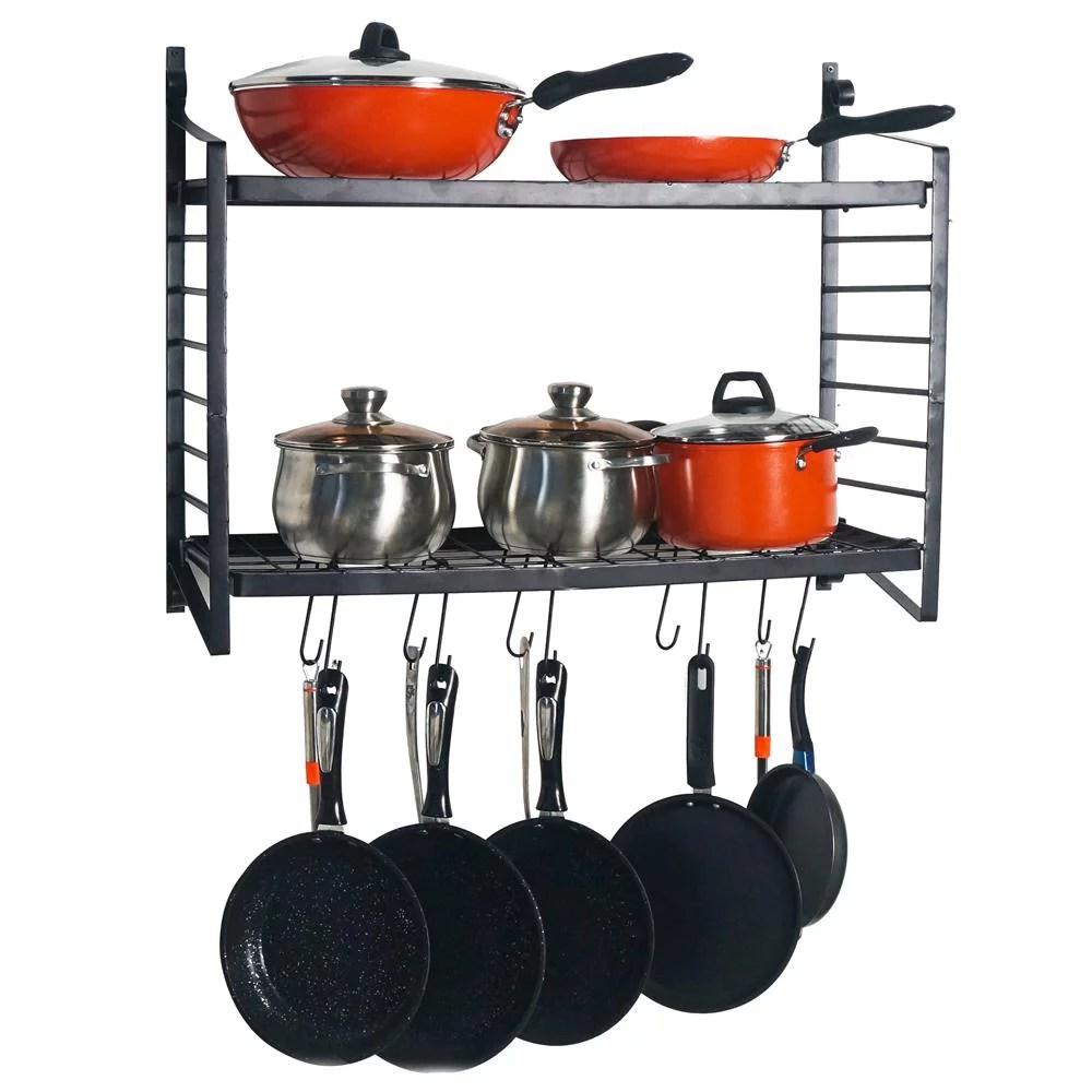 ktaxon 2 tiered wall mounted pot rack