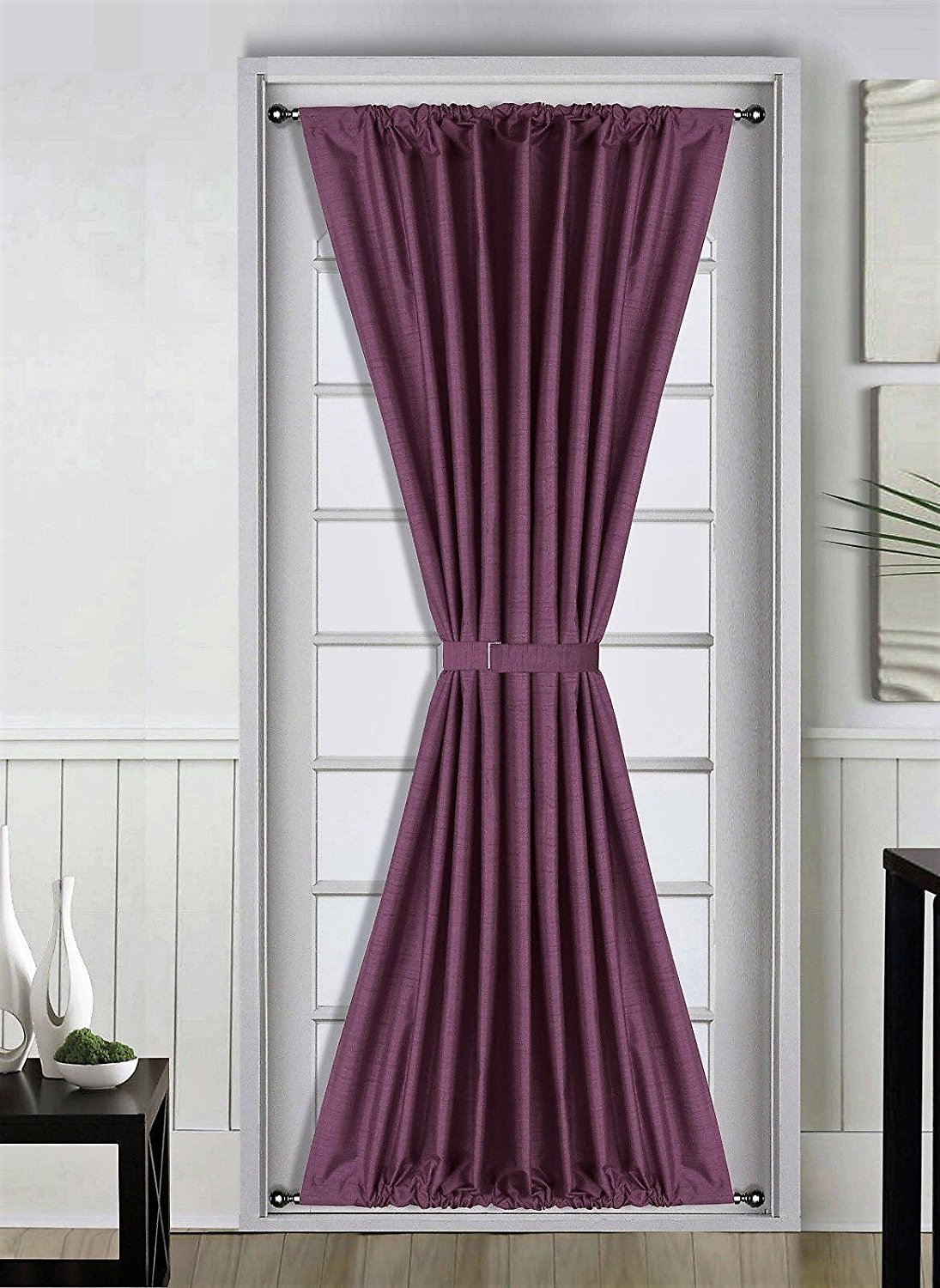 1 pc plum purple insulated heavy thick french door thermal blackout rod pocket curtain panel with tieback 55 w x 72 l daysi walmart com