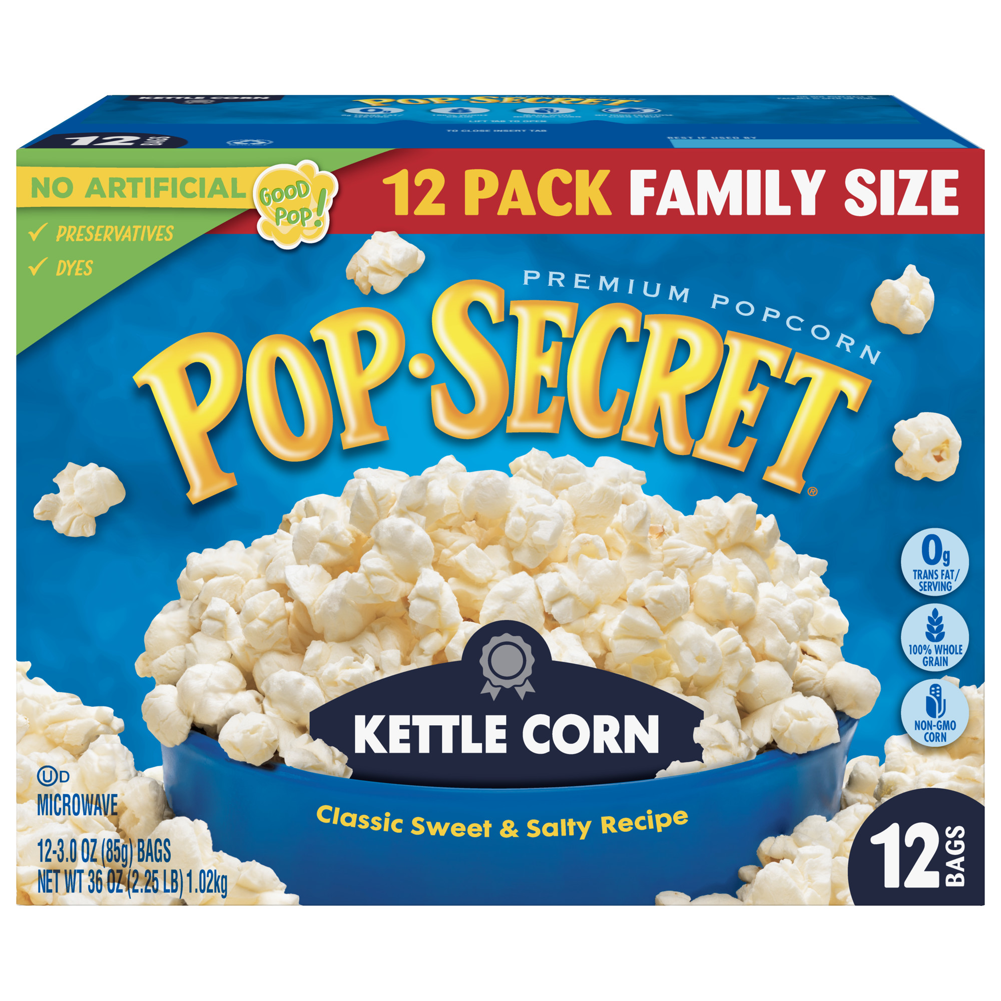 pop secret popcorn kettle corn microwave popcorn 3 oz sharing bags 12 ct
