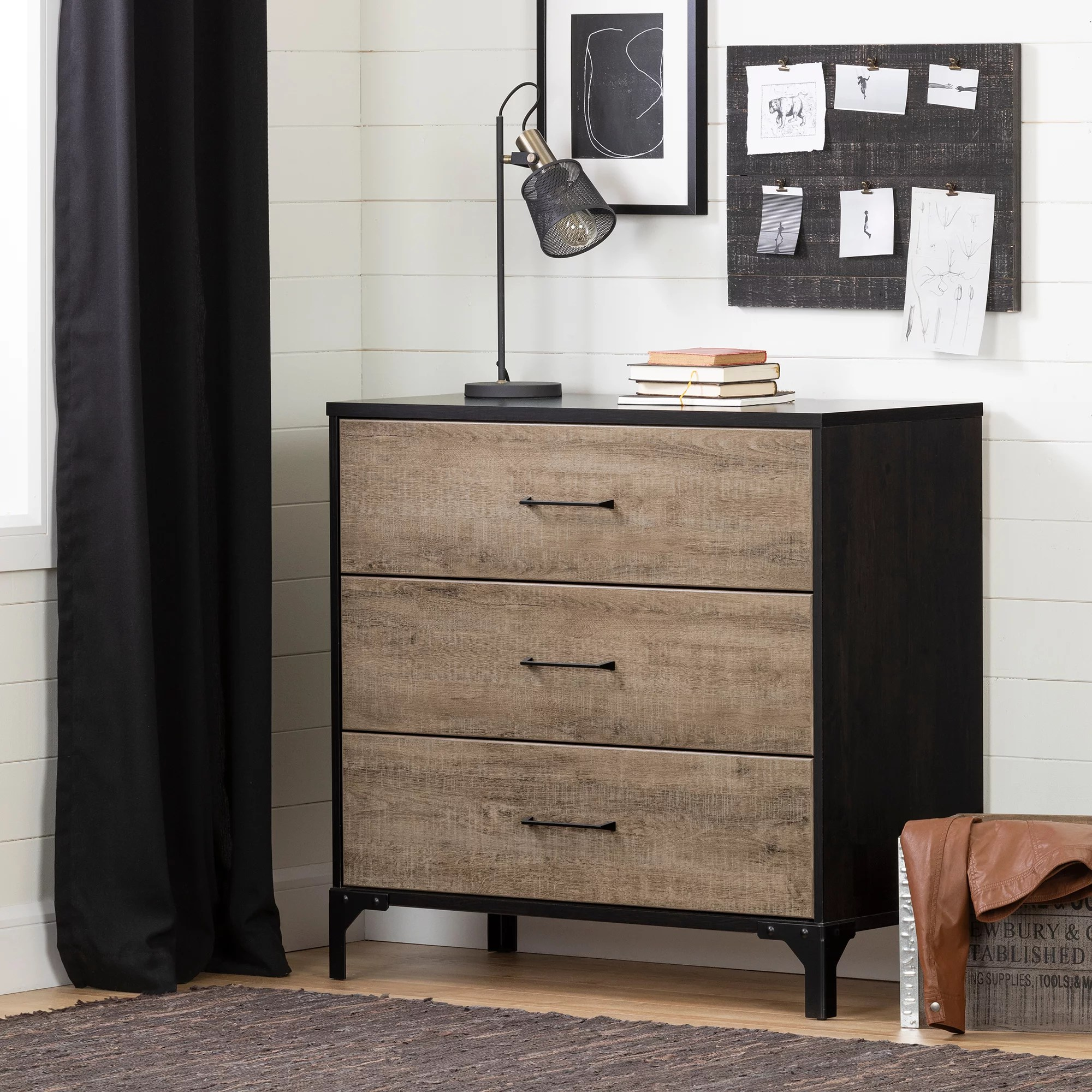 south shore valet 3 drawer chest dresser weathered oak and ebony