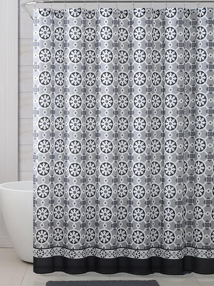 geometric black gray white shower curtain for bathroom