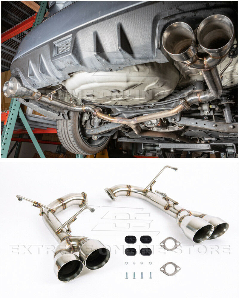 replacement for 2015 2021 subaru wrx sti stainless steel anodized silver muffler delete axle back 4 double wall quad tips exhaust