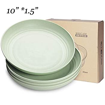 10 inch microwave dishwasher safe plates eco friendly wheat straw dinner dessert salad plates lightweight unbreakable dishes non toxin bpa