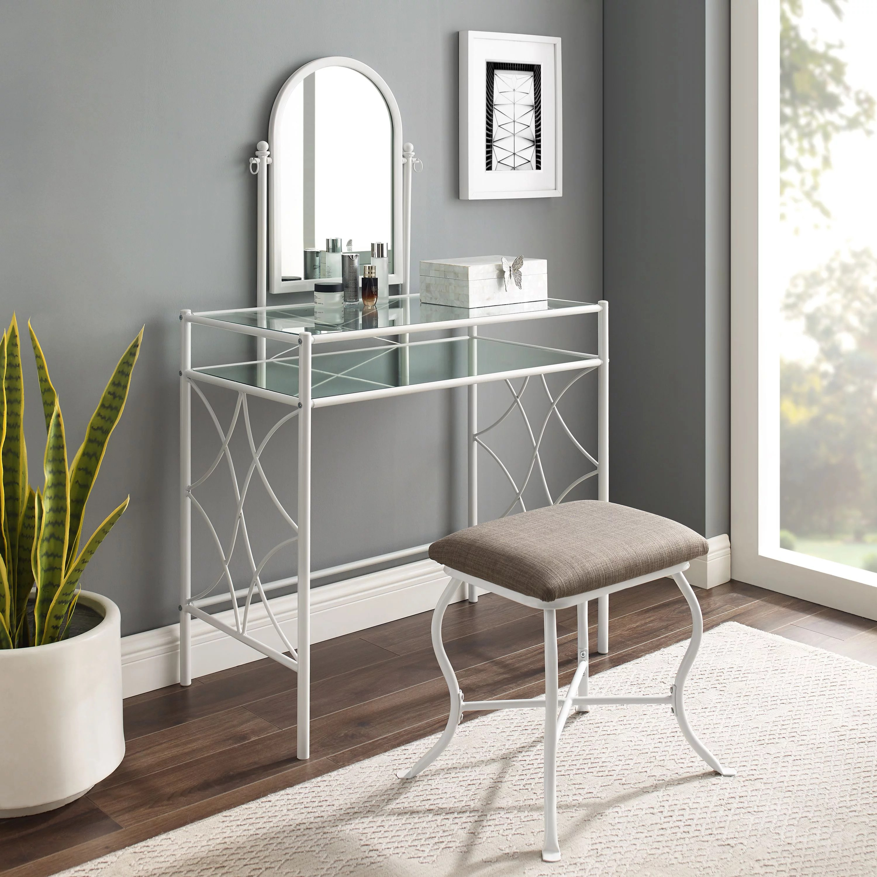 mainstays lattice metal and glass vanity set with shelf and upholstered stool white