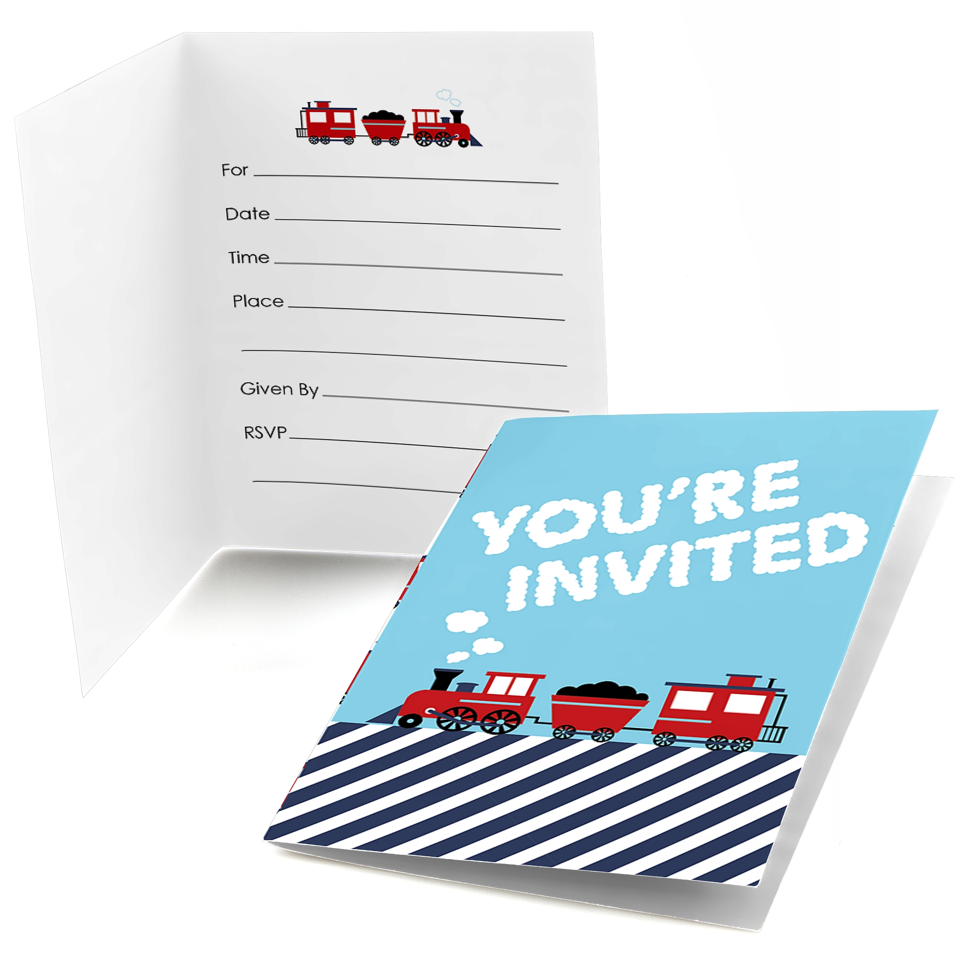 railroad party crossing fill in steam train birthday party or baby shower invitations 8 count walmart com