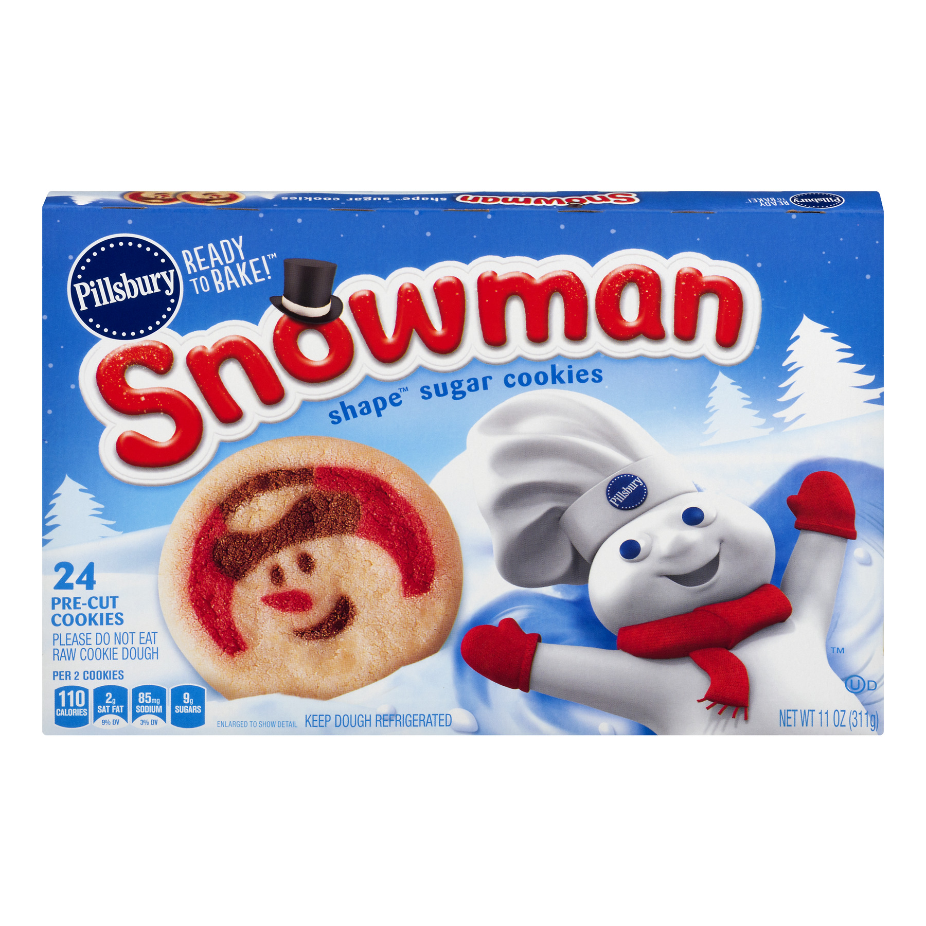 Pillsbury Ready To Bake Snowman Shape Sugar Cookies 24