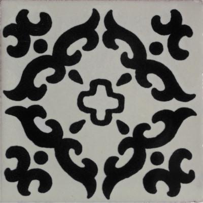 6x6 black barroco talavera mexican tile set of 4 pcs