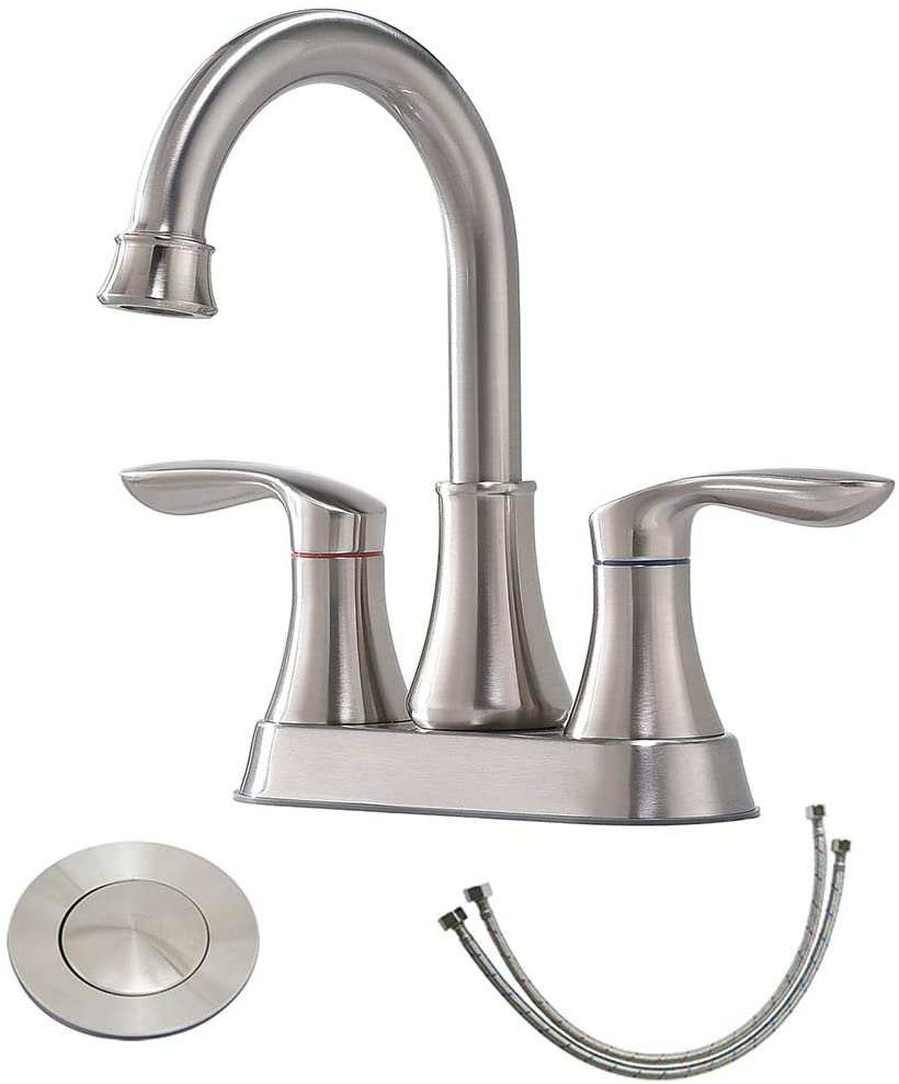 friho lead free modern commercial two handle brushed nickel bathroom faucet bathroom vanity sink faucets with drain stopper and water hoses