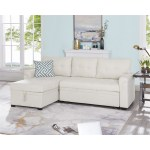 Laura Reversible Sleeper Sectional Sofa Storage Chaise By Naomi Home Color Cream Fabric Velvet Walmart Com Walmart Com