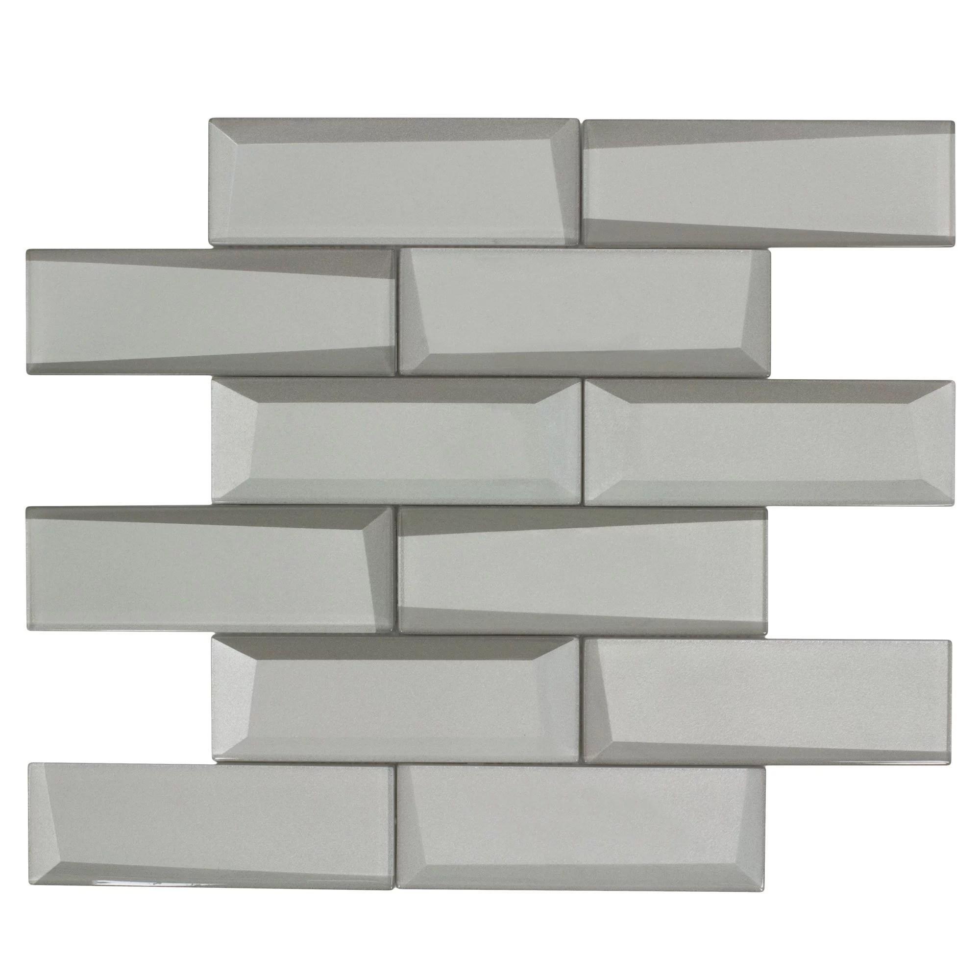 modern brick white glass mosaic tile