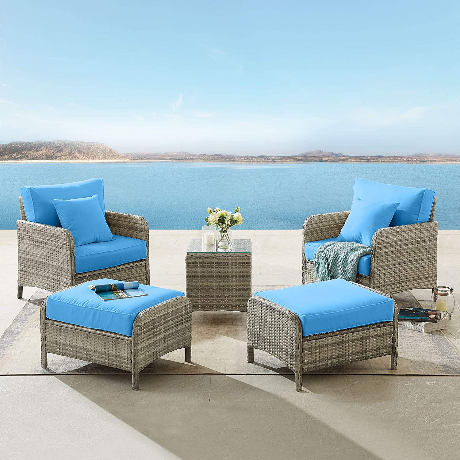 tribesigns 5 pieces patio furniture set outdoor chairs with ottoman set wicker sofa rattan couch conversation lounge set with cushions and glass