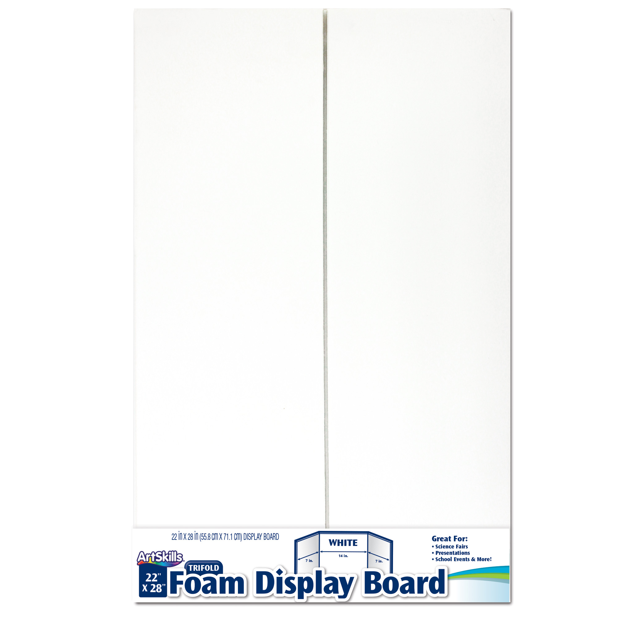 artskills 22 x28 foam trifold display board white 1 count walmart com