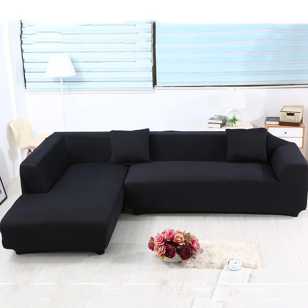 sofa covers for l shape 2pcs polyester fabric stretch slipcovers 2pcs pillow covers for sectional sofa l shape couch solid color black