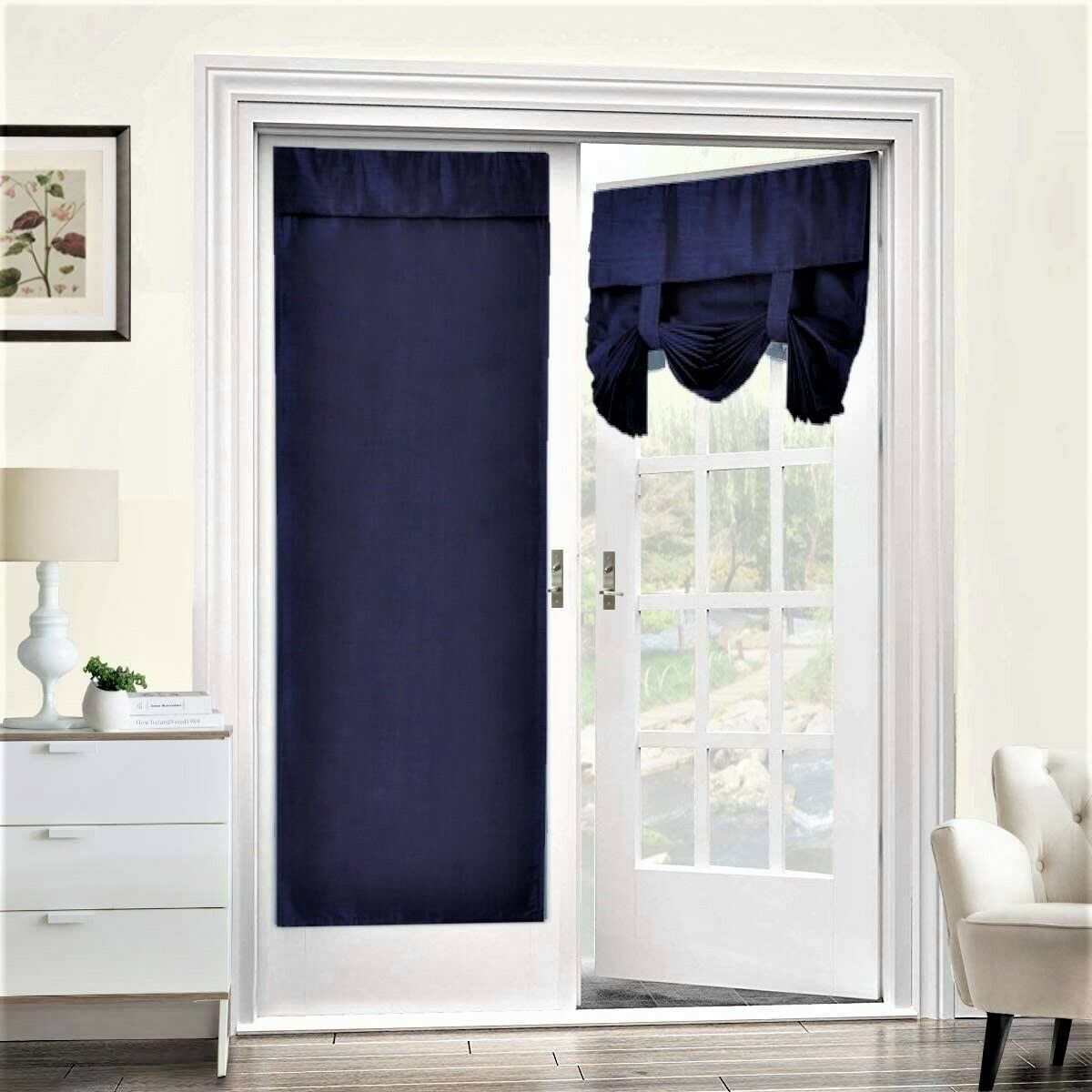 gaby navy blue blackout curtain for french doors solid color thermal blackout linen glass patio door curtain panel curtain for door window curtains