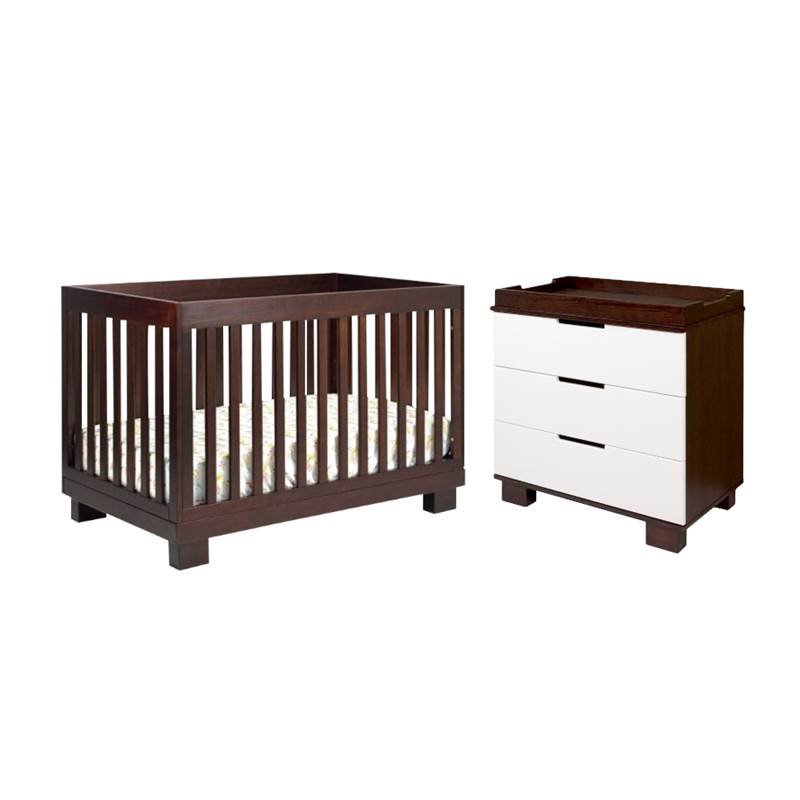 2 piece nursery set with crib and changing table set in espresso and white
