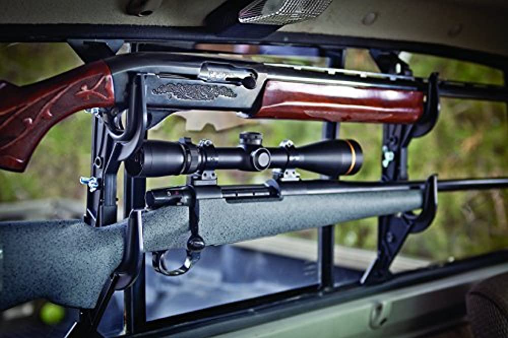 Forget the rubber-coated metal rear-window pickup racks of yesteryear that would scratch the stock of a fine gun and rattle the scope loose before you left the driveway. Allen Company Molded Truck Gun Rack For Rear Window Holds Two Shotguns Rifles Bows Or Tools Adjustable 9 1 2 16 1 2 Inches Height Black 17450 Walmart Com